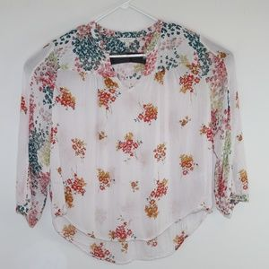 Lucky Brand White Floral Boho Peasant Style Blouse
